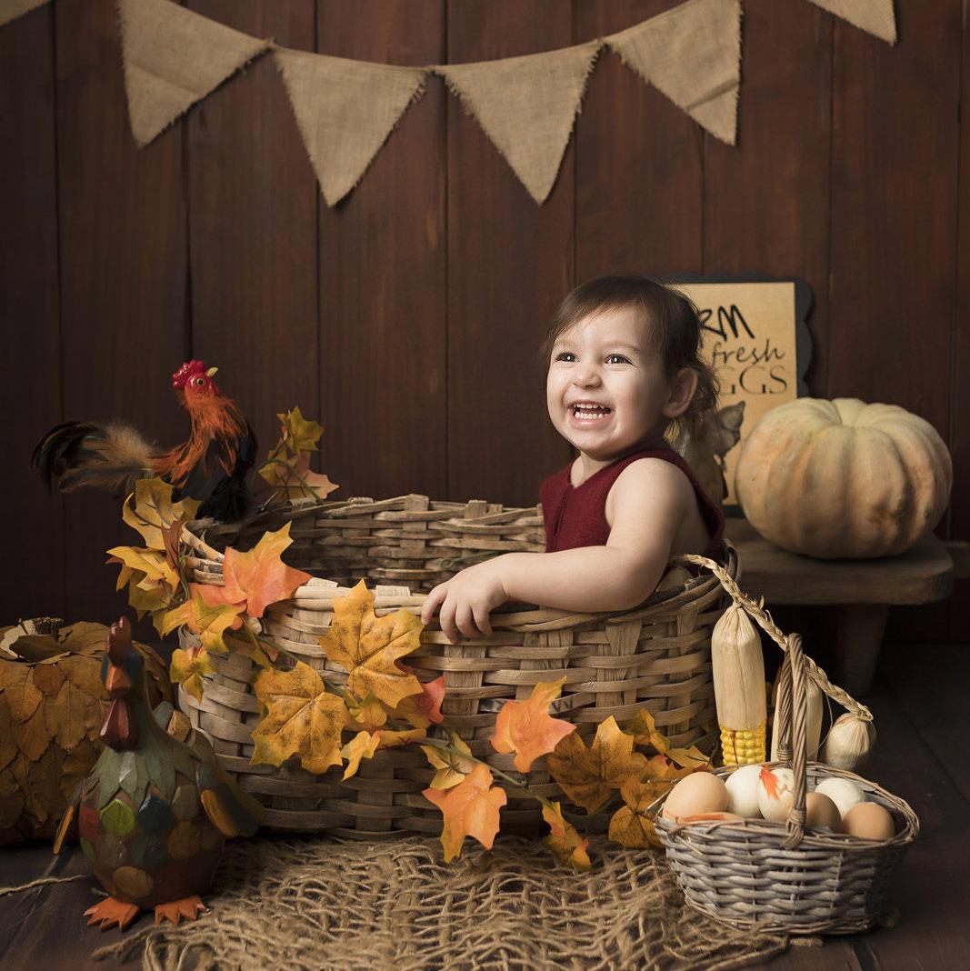 sonbahar ve çiftlik dekorlu konsept 2 yaş bebek karesi